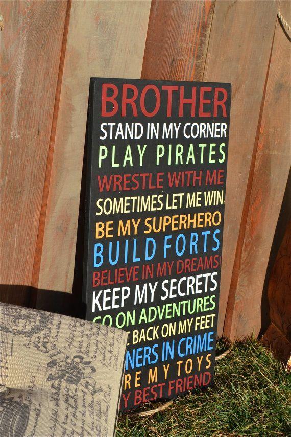 dd8122a5bdb15 Brothers poem, boys room signs, brother signs, boys bedroom ...