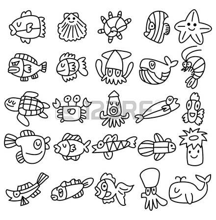 mano de la cuerda iconos de peces de acuario conjunto Foto de