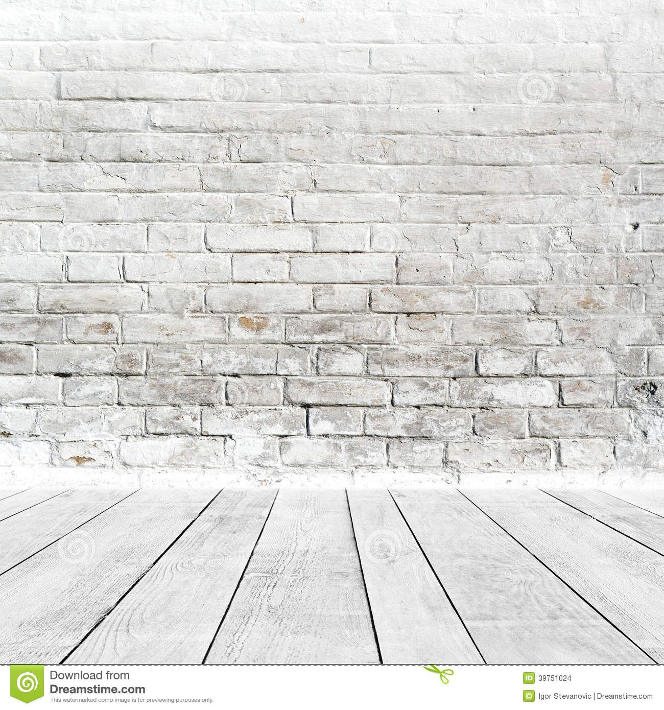 Room Interior White Brick Wall Wood Floor Vintage As Background .  Background Texture Of White Wood Floor ...