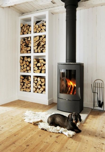 Gorgeous stove and wood bin Fireplaces Pinterest Parcela