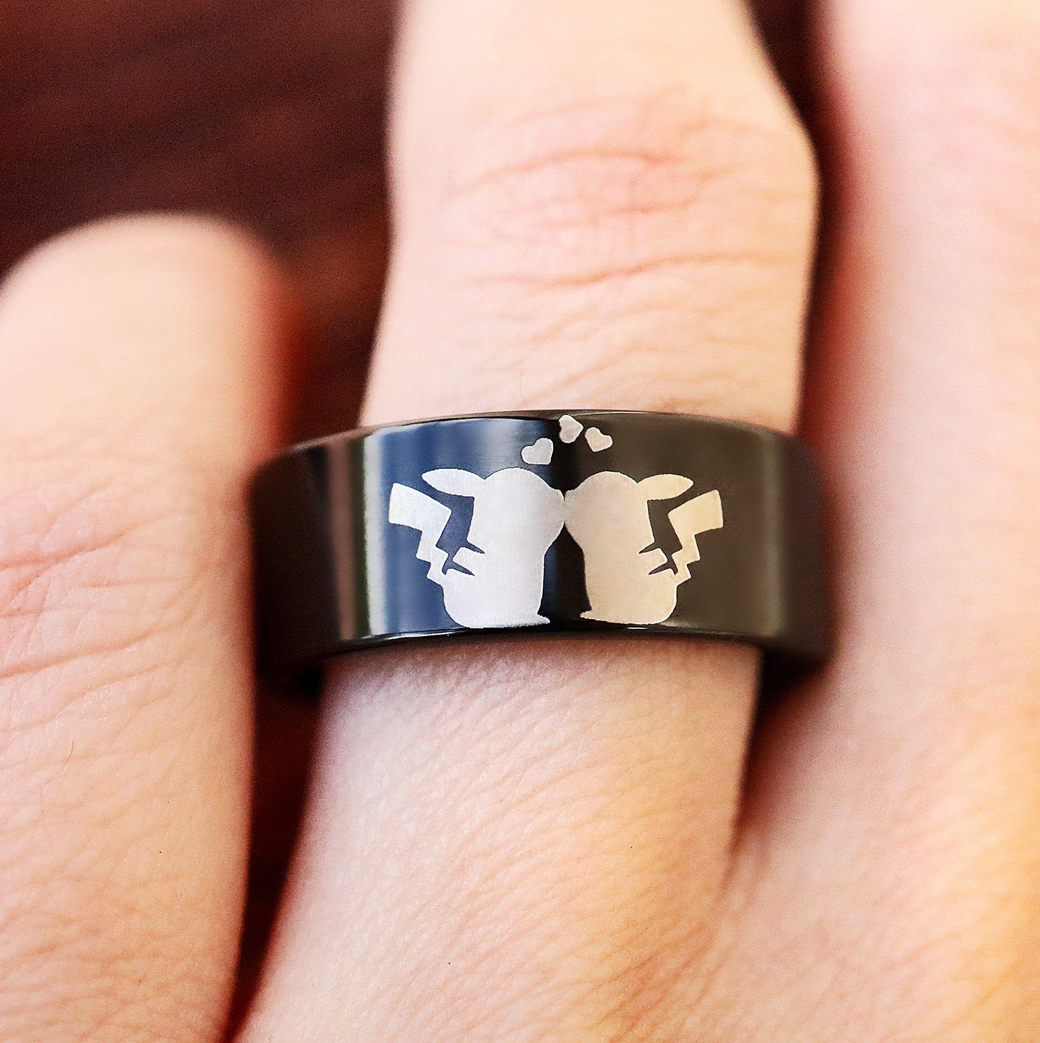 Pikachu Wedding Ring Pikachu Couple Ring Pikachu Engraved Ring Pokemon Man Ring Pokemon Wedding Band Pokeball R In 2020 Rings For Men Engraved Rings Pokeball Ring