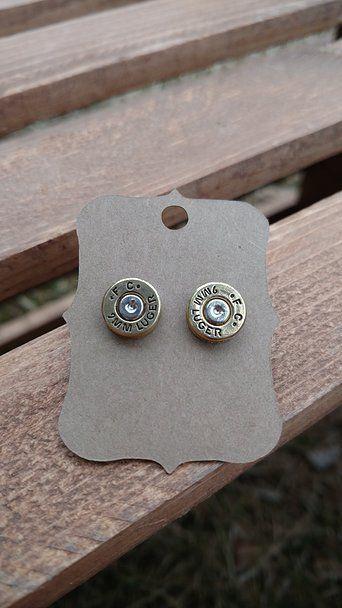 Bronze Faux Bullet Earrings 12 Gauge Shotgun Shell Studs Gothic Western Jewelry