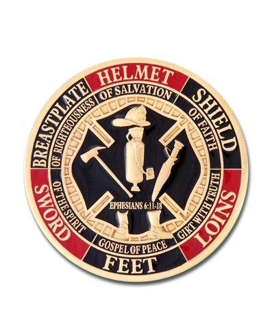 Back Side Of The Firefighter Armor Of God Challenge Coin