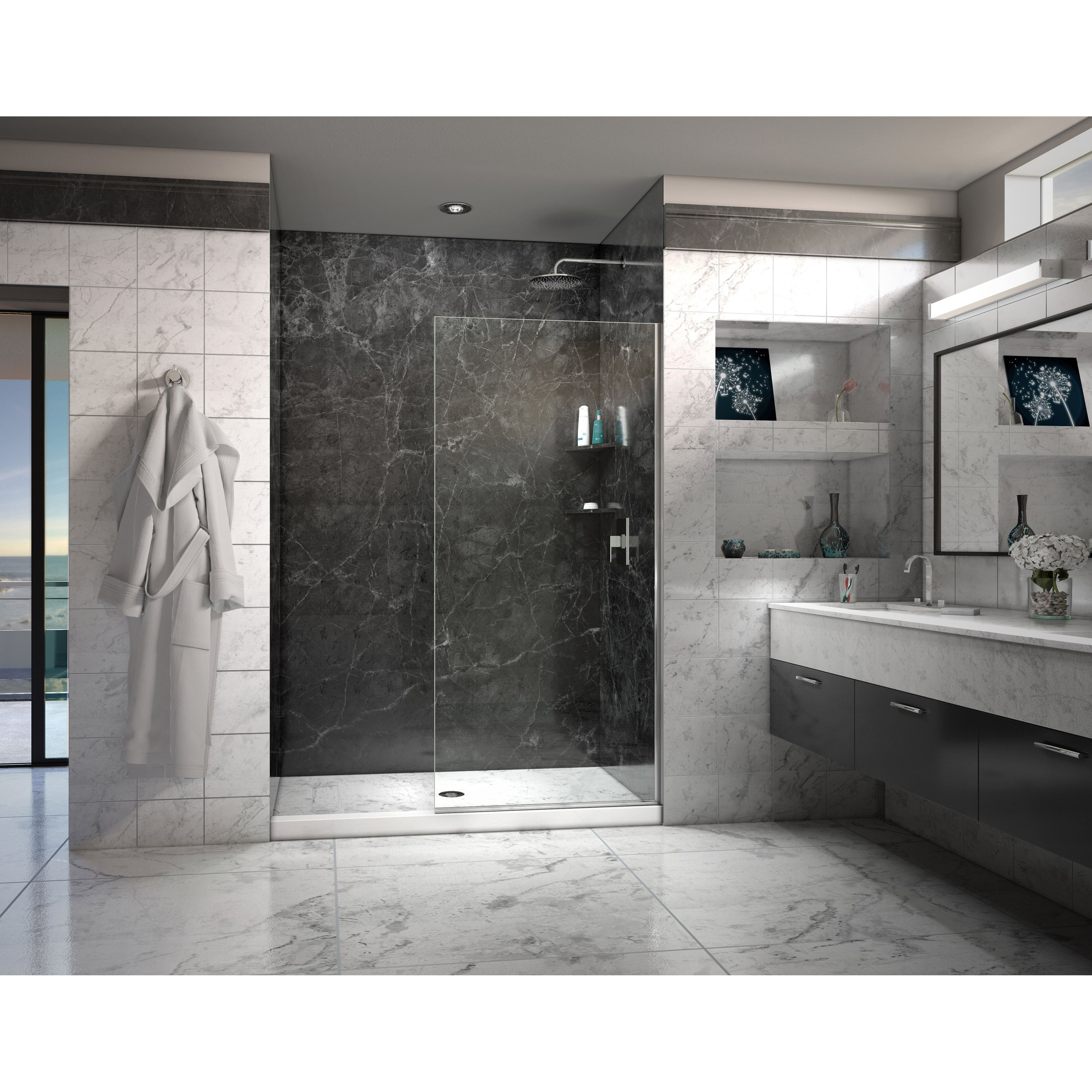 Linea Frameless Shower Door 34 In X 72 Open Entry Design