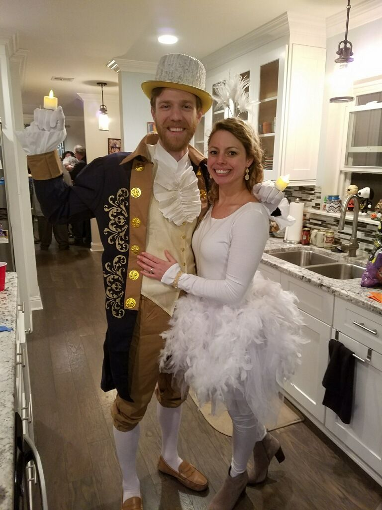 Lumiere and plumette couples costume for halloween
