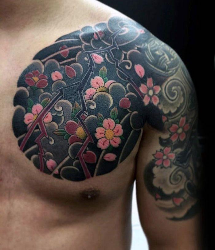 1001 coole und effektvolle kirschbl ten tattoo ideen. Black Bedroom Furniture Sets. Home Design Ideas