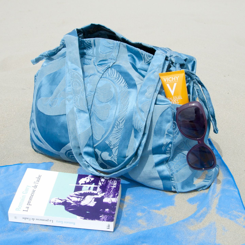 Sac de plage /Cabas estival bleu : Sacs à main par la-sylve