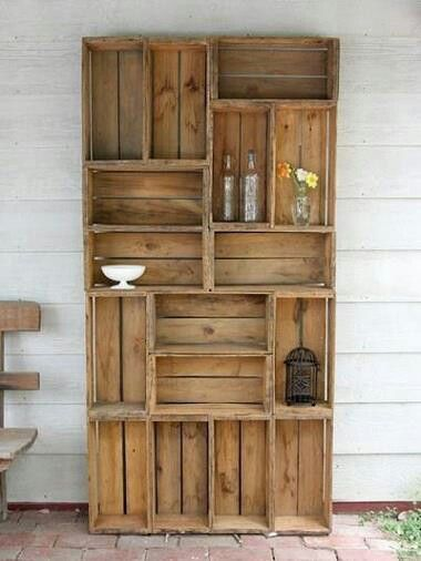 DIY crate bookshelf (use crates from Michael's or wine crates) ... can ...