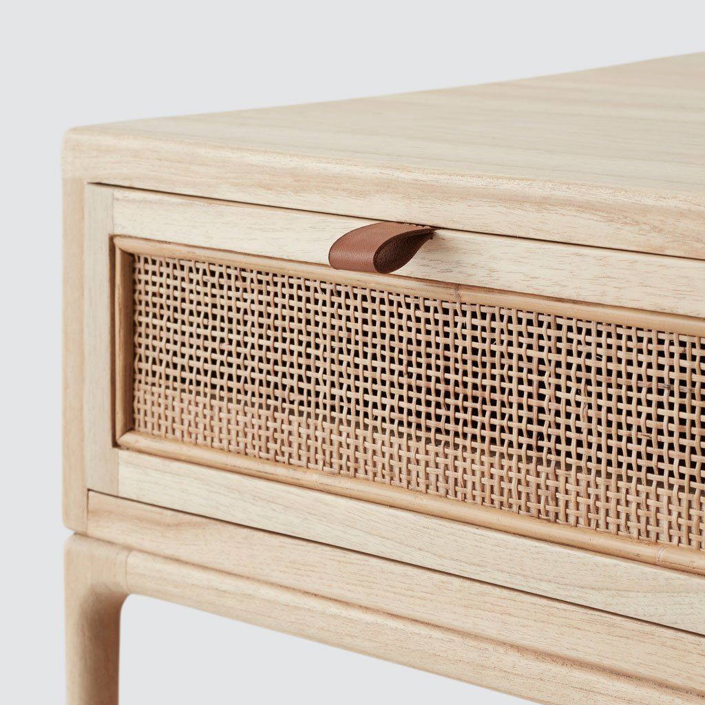 Kura Nightstand Mindi Cane Leather Wood Furniture Hand Crafted Furniture Modern Nightstand