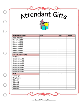 The Wedding Planner attendant gifts checklist ensures that you
