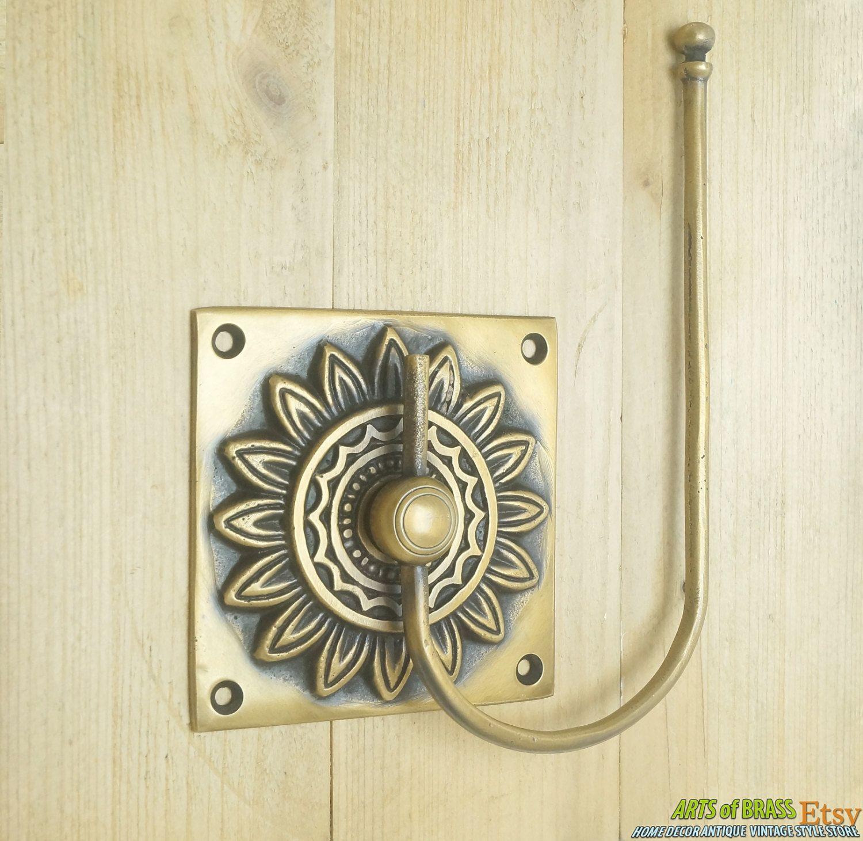 Vintage Retro Sun Flower Hand Towel Holder Hanger Solid Br Bathroom Hook Handle Ae038
