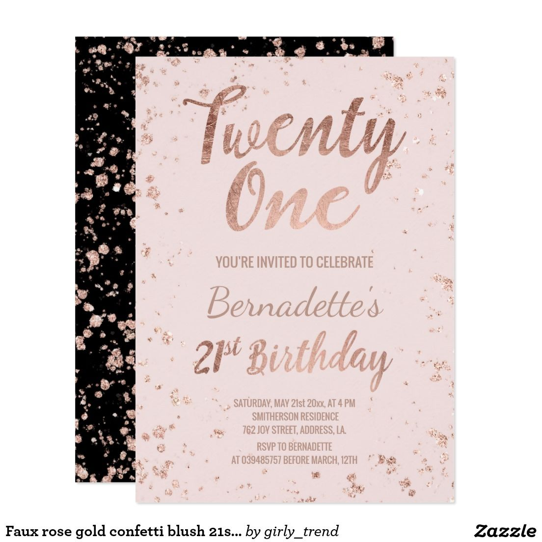 Faux Rose Gold Confetti Blush 21st Birthday Card Splatters Pink A Modern Party Invitation With