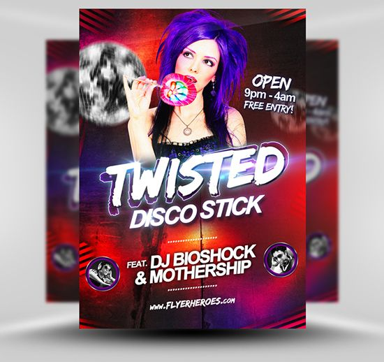 Twisted Disco Flyer Template Flyerheroes  Free Psd Flyer