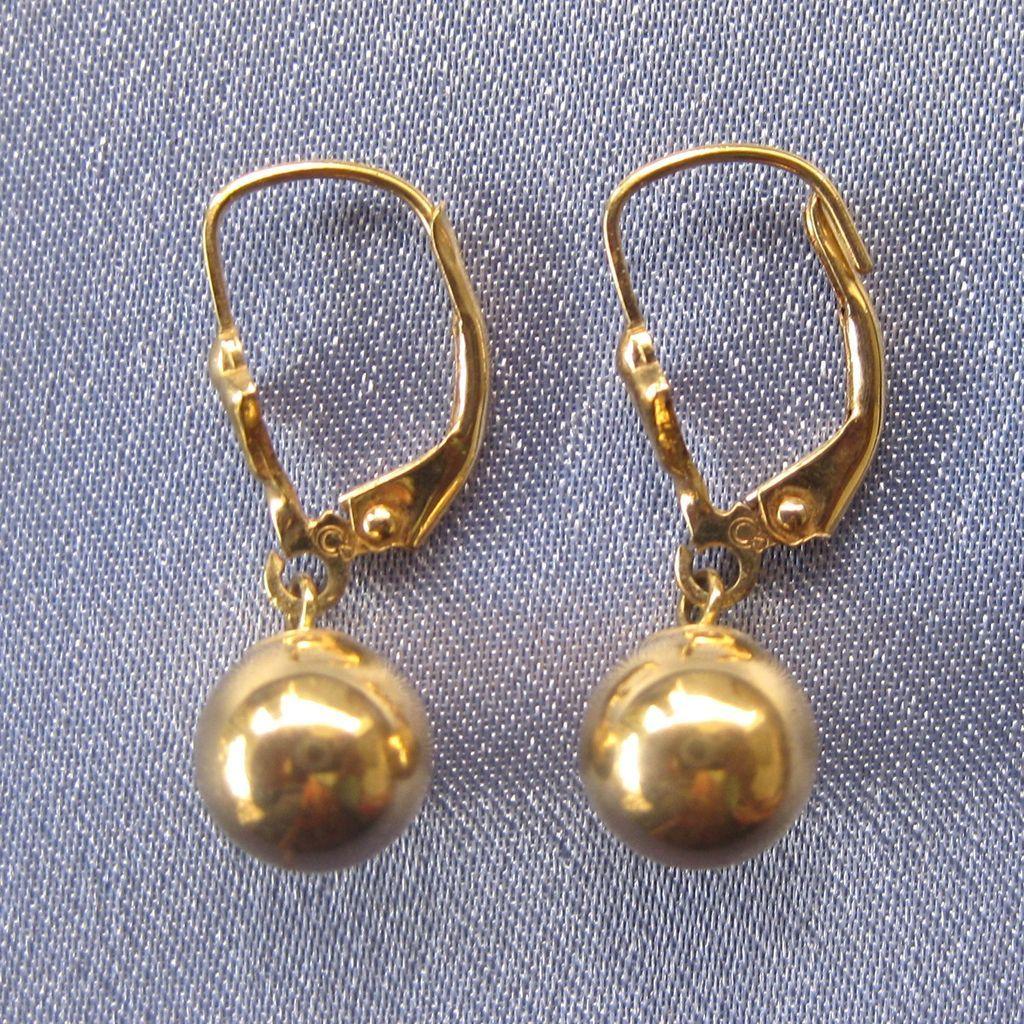 Classic Dangling 14k BALL Lever Back Earrings