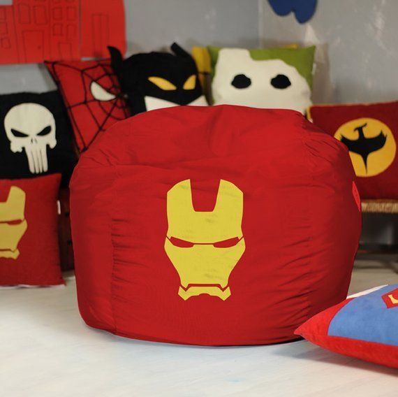 Avengers Bean Bag Chair Wedding Cover Hire Services Iron Man Superhero Decor Marvel Comic The Ir