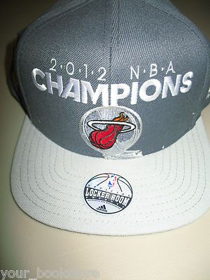 best website abd2b 900e0 Champion · New Adidas Adjustable Plastic Back 2012 NBA Champions Miami Heat  Basketball Hat ...