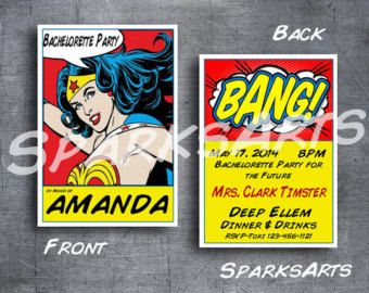 bachelorette party invites wonder woman superhero wedding girls night out or birthday party custom printable - Superhero Wedding Invitations