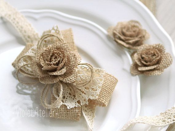 Burlap and Lace Corsage, Burlap rose, Country Chic Wedding, Rustic Wedding, Burlap Wedding