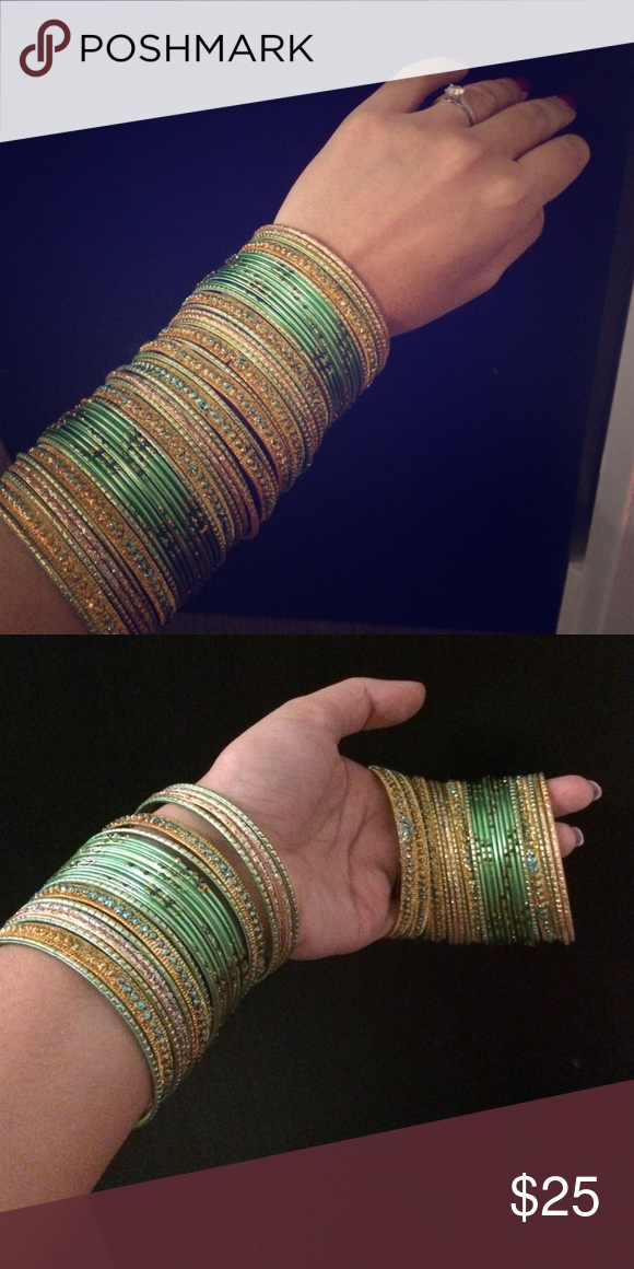 Dazzling set of Indian glass bangles Beautiful combination of golden