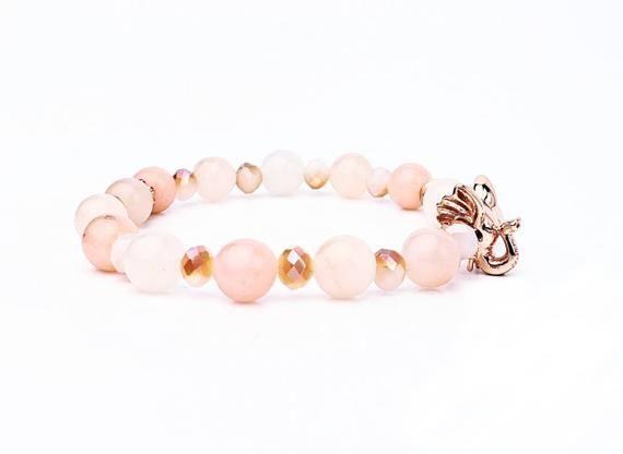 Photo of Rose Gold Elephant Bracelet| Good Luck Symbolic Bracelet| Pink Opal Gemstone Bracelet| Feng Shui Bracelet| Rose Gold  Czech Crystal Bracelet