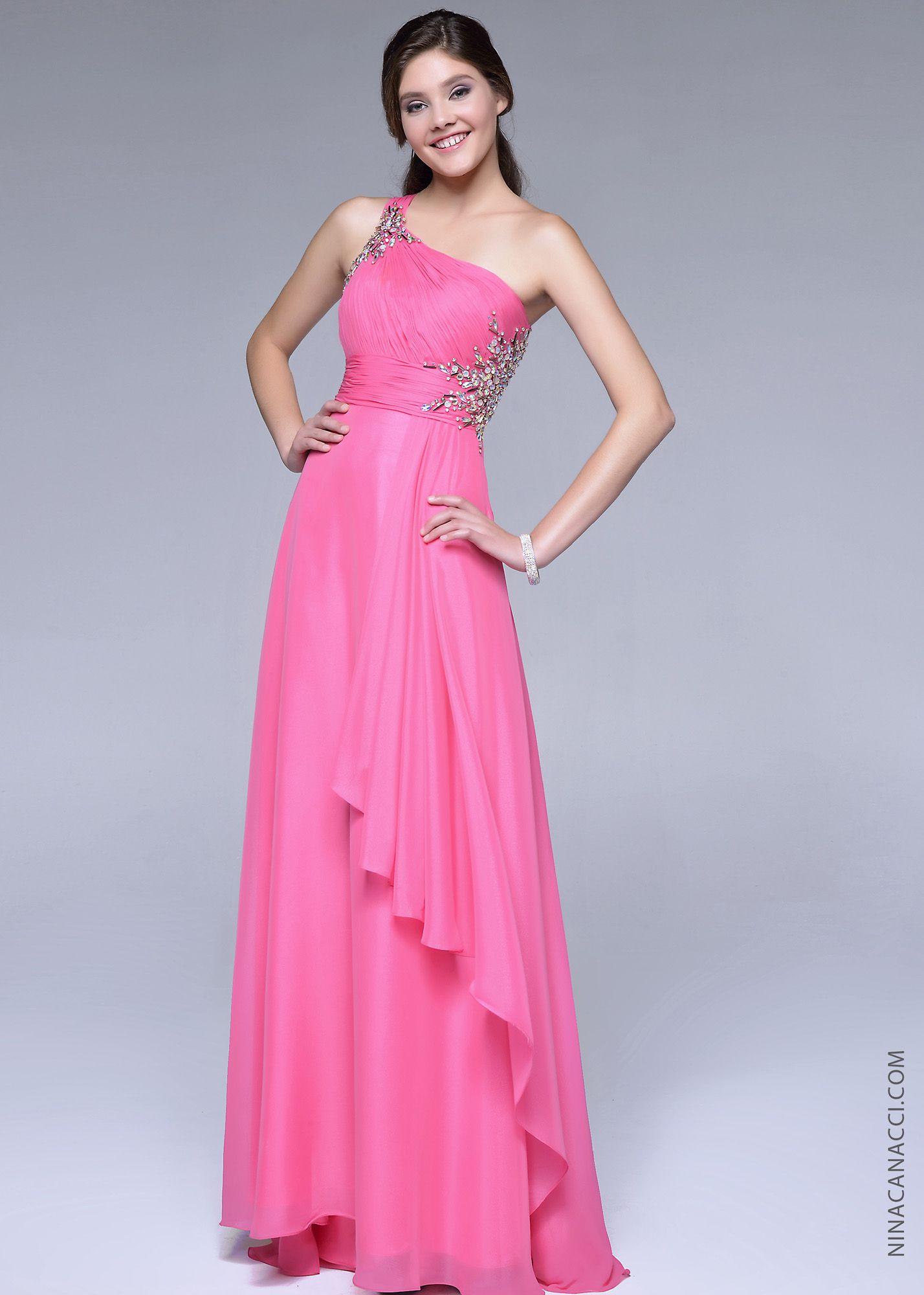 Nina Canacci 1015 -Bubble Gum One Shoulder Beaded Prom Dresses ...