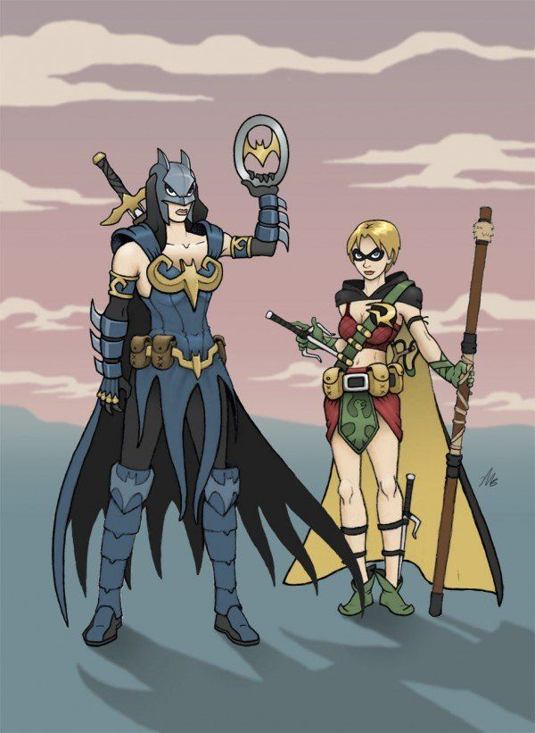 Xena and Gabrielle as Batman & Robin... not a mash-up that comes naturally to me, but hey, it's kinda cool.