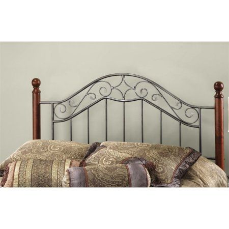 Hillsdale Furniture Martino King Metal Headboard With Frame And Cherry Wood Posts Smoke Silver Walmart Com Open Frame Headboard Hillsdale Furniture Headboard Wood and metal headboard queen
