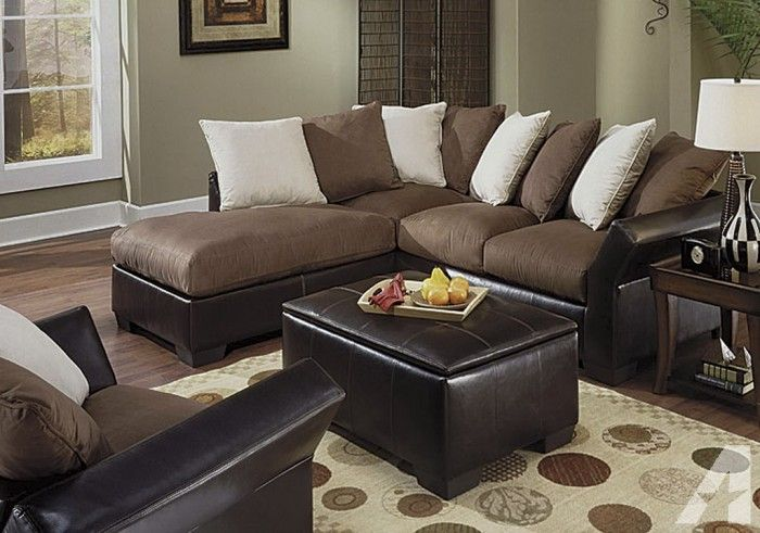 Lovely Brown And Beige Furniture   ... For Contemporary Microfiber Sectional Sofa  Couch Brown Beige