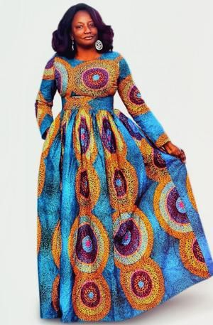 AKU African Print Long Sleeve Maxi Dress in 2019 | African ...
