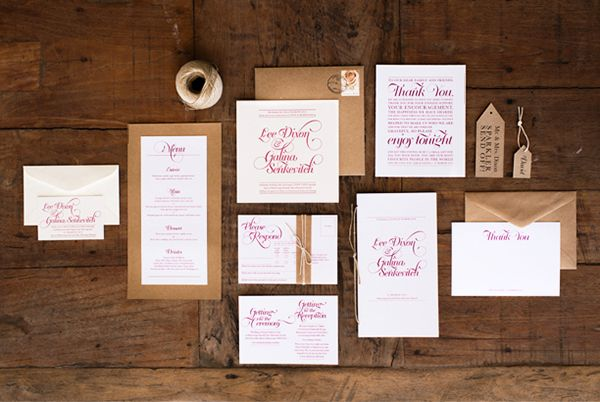 Oh So Beautiful Paper: Galina + Lee's Timeless Typography-Inspired Wedding Invitations