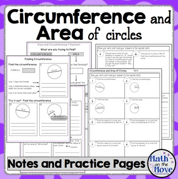 Circumference And Area Of Circles Interactive Notes Practice