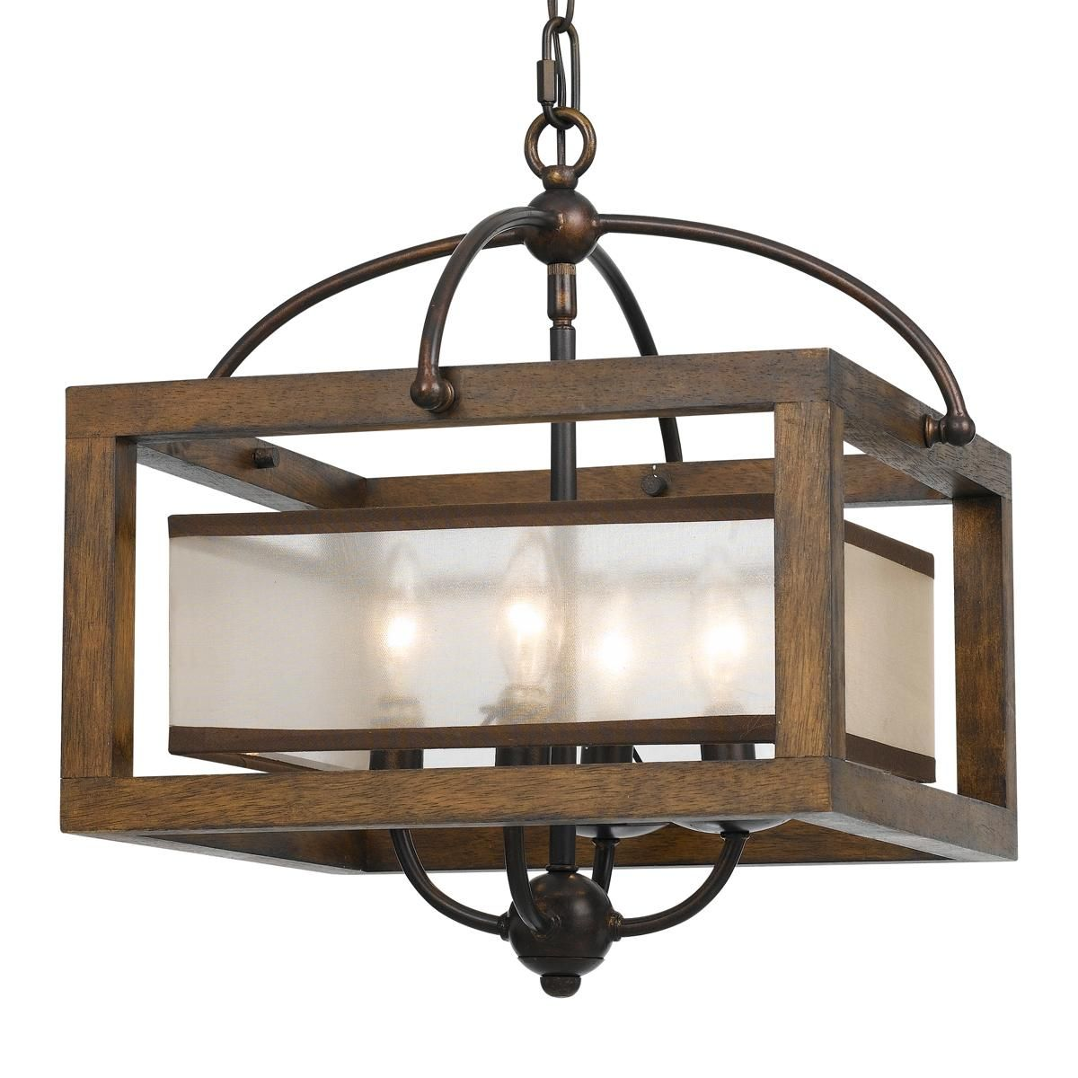 Square Wood Frame and Sheer Ceiling Light Semi flush ceiling lights, Flush ceiling lights and ...