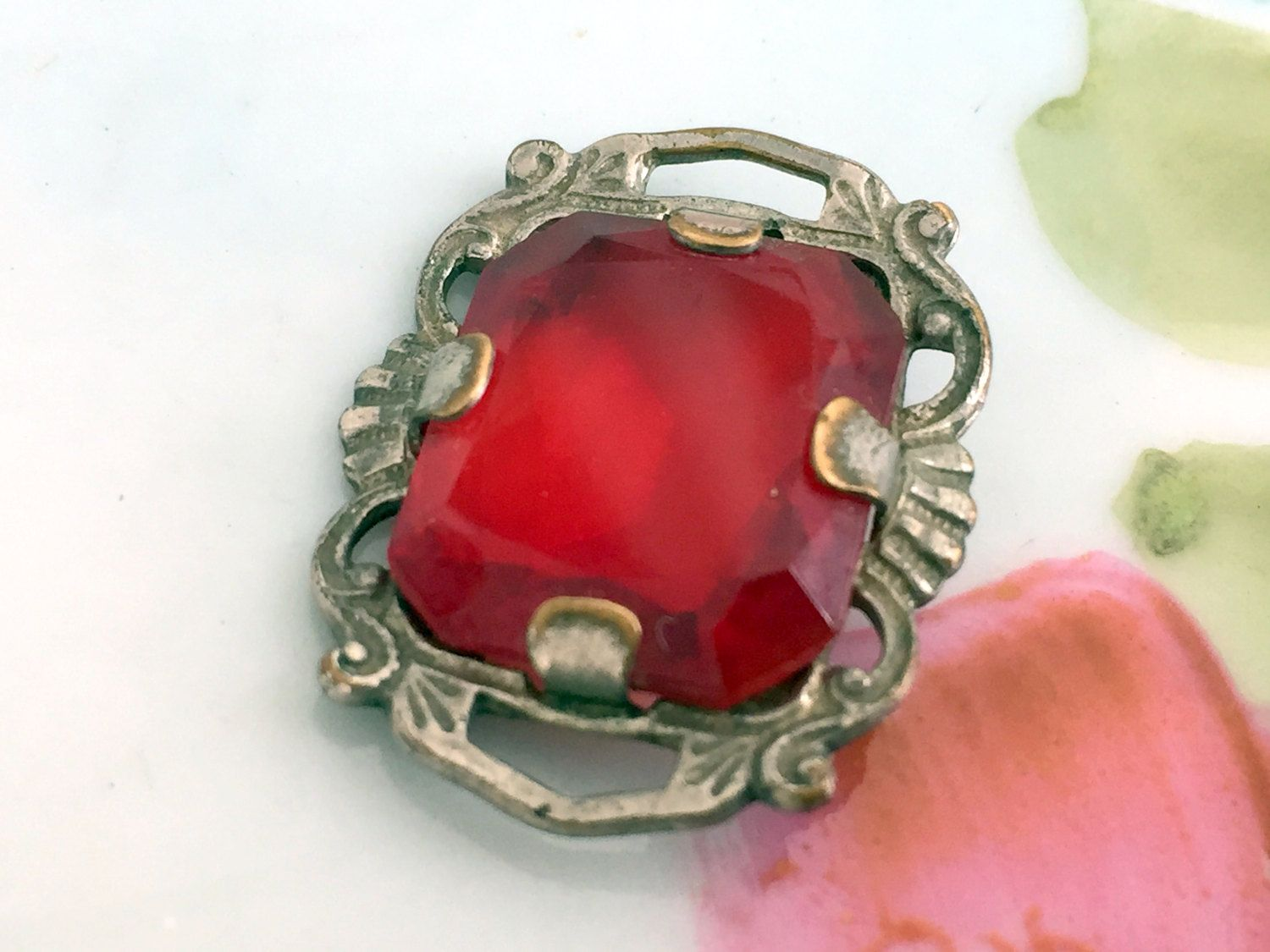 Antique red czech glass pendant part jewelry supply finding glass antique red czech glass pendant part jewelry supply finding aloadofball