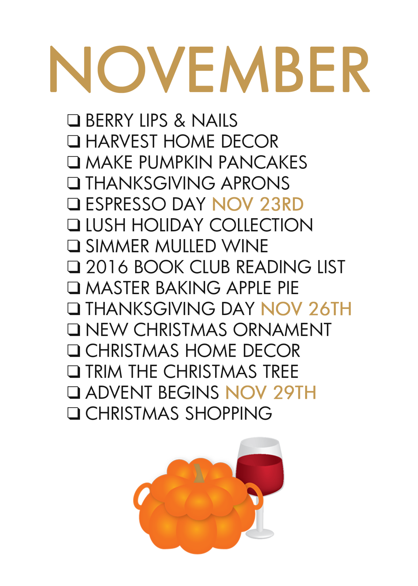 November Seasonal Living List