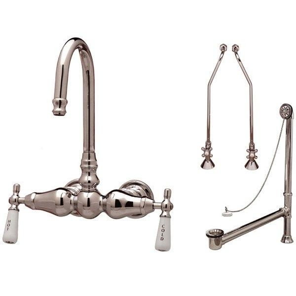 Wall Mount Clawfoot Tub Gooseneck Faucet Drain Supply Lines