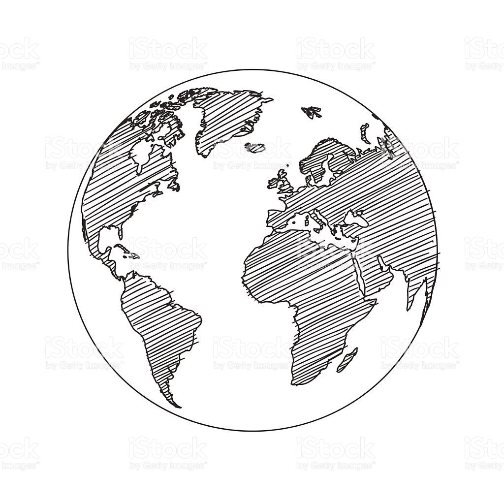 World Map Globe Sketch In Vector Format