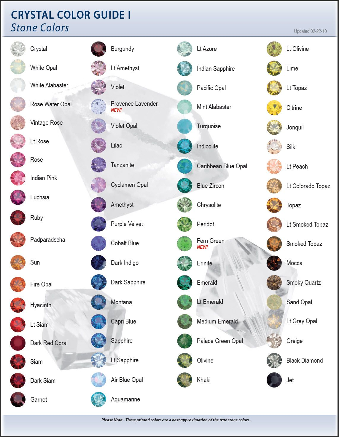 Swarovski Color Chart I Stone Bead Charts Diagrams