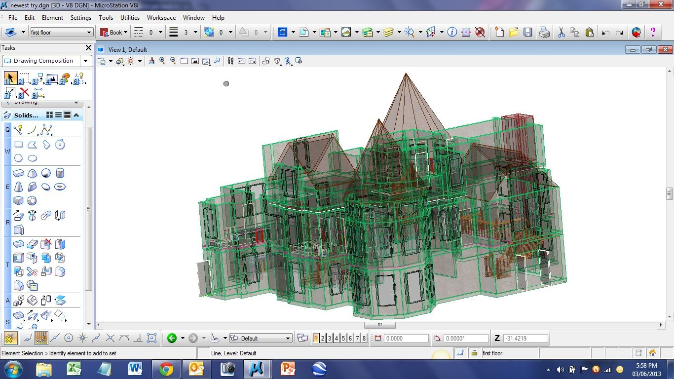 Working on 3D house in Microstation by Phoenix Professional