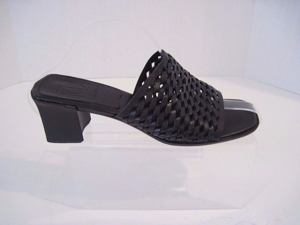 COLE HAAN ITALY BLACK LEATHER WOVEN SLIDES SANDALS SHOES SIZE 7 B #ColeHaan #OpenToe #Casual
