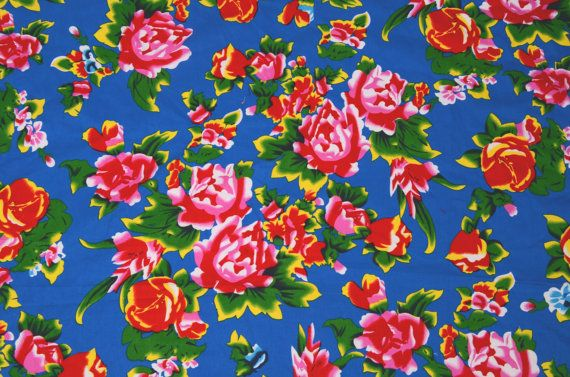 Blue Oriental floral fabric / Red Chinese by TheFabricHippie, $14.00