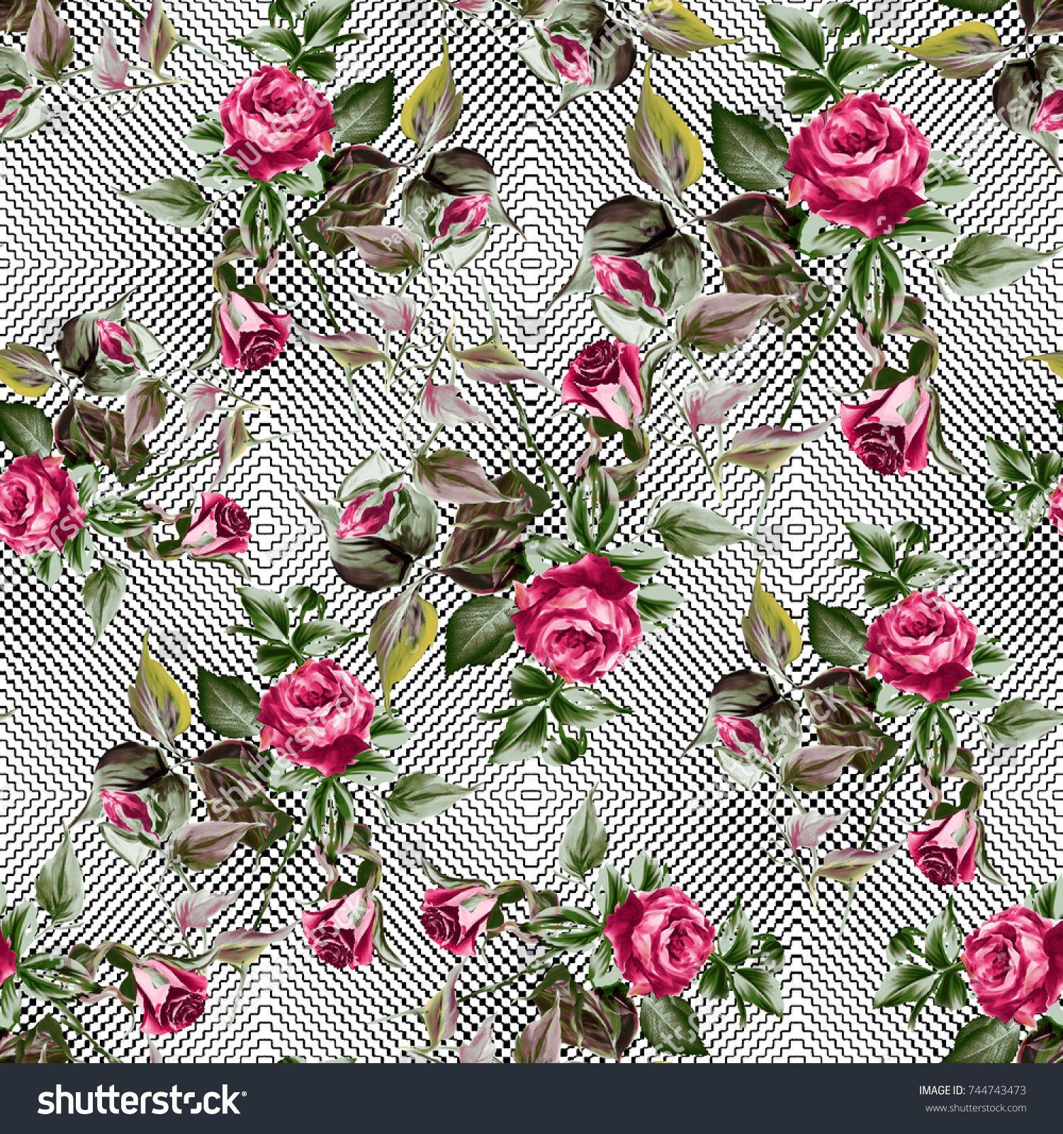 Watercolor Rose Flower Pattern Cicekli Baski Desenler Baski