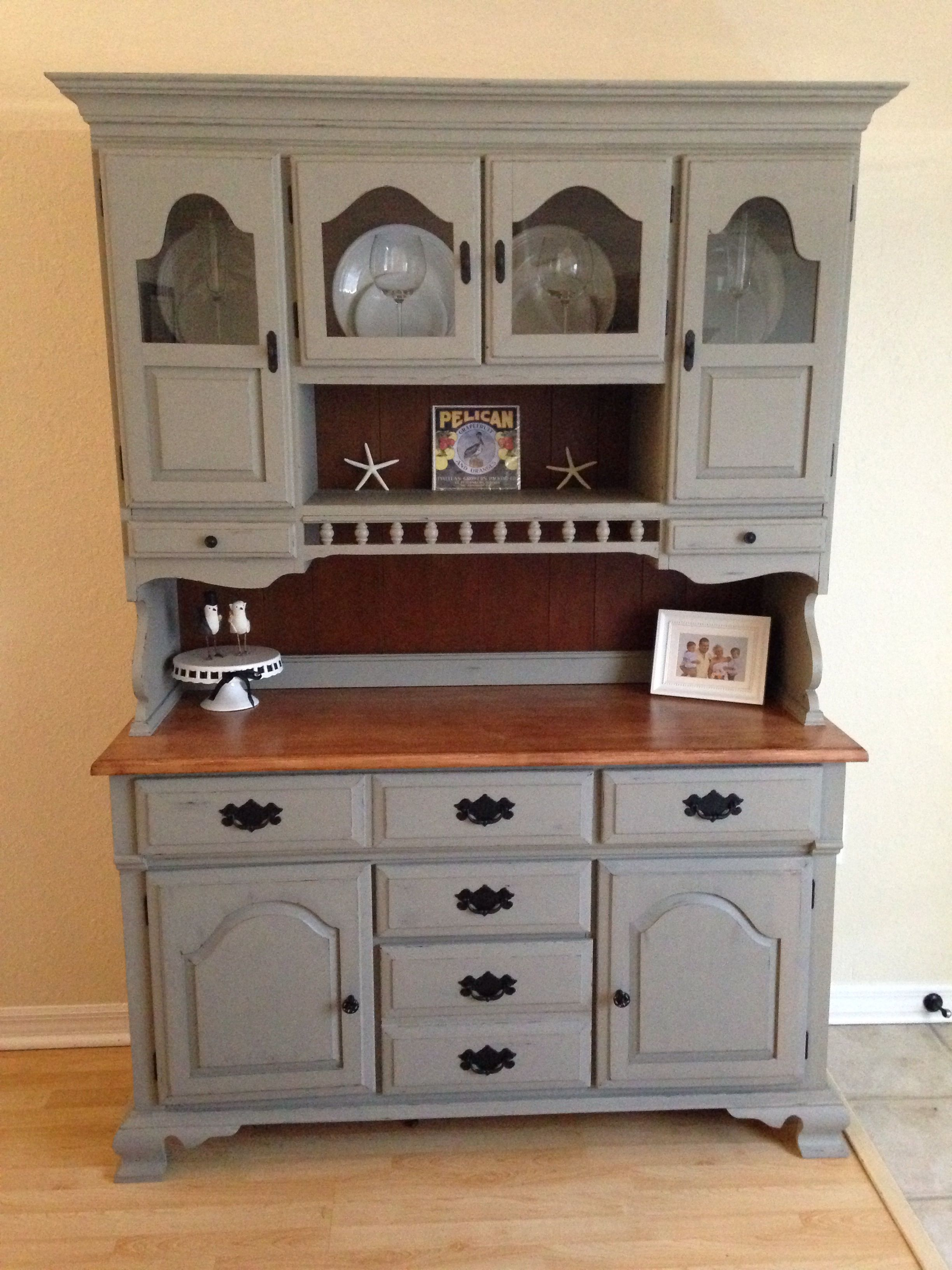 Annie Sloan French Linen With A Natural Stained Countertop