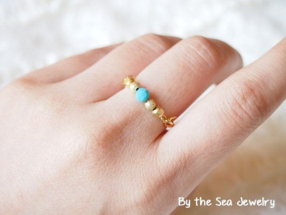 Swarovski turquoise beads gold plated beads Wire by BytheSeajewel, ¥1000