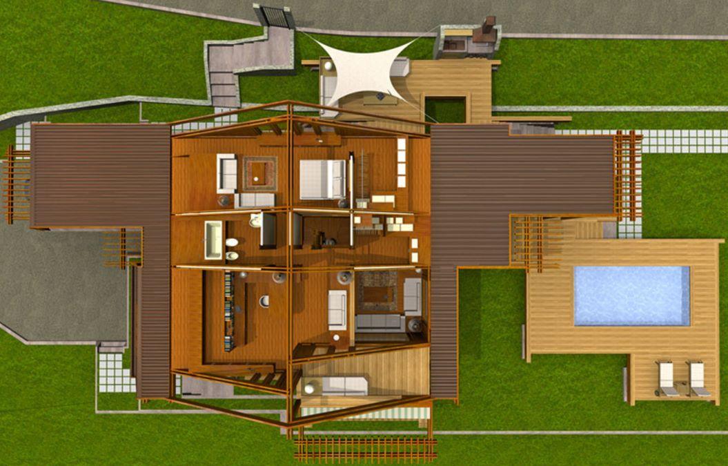 Plano de chalet de 250 metros cuadrados con piscina for Planos de chalets