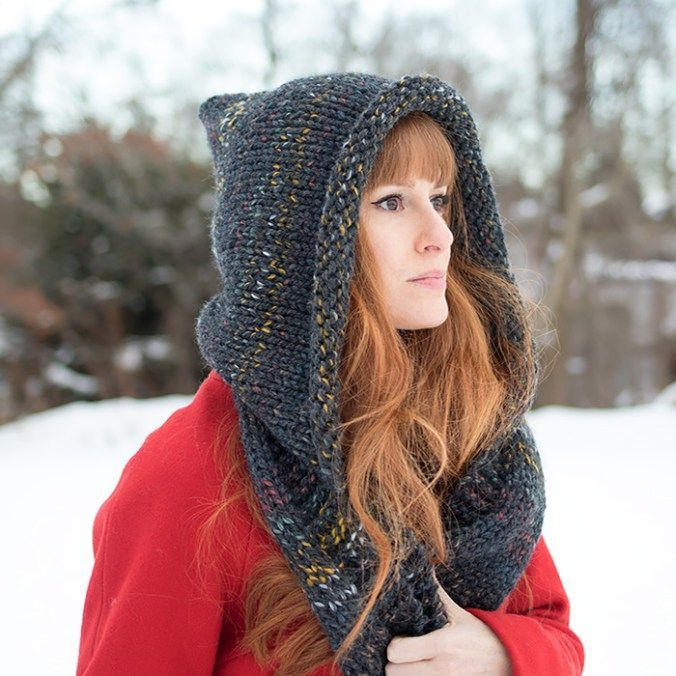 Easy Hooded Scarf Free Knitting Pattern By Gina Michele What You