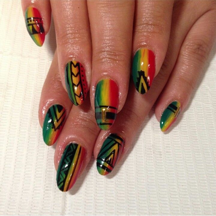Tribal rasta nails | Nails | Pinterest | Rasta nails, Jamaica nails ...