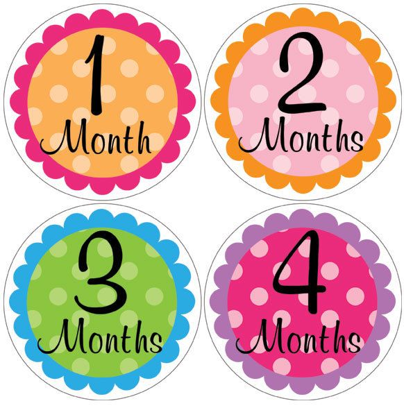photo prop baby month stickers girl 1-12 monthly onesie stickers (93polkamixed) polka dots baby shower gift newborn milestone age. $9.00, via Etsy.