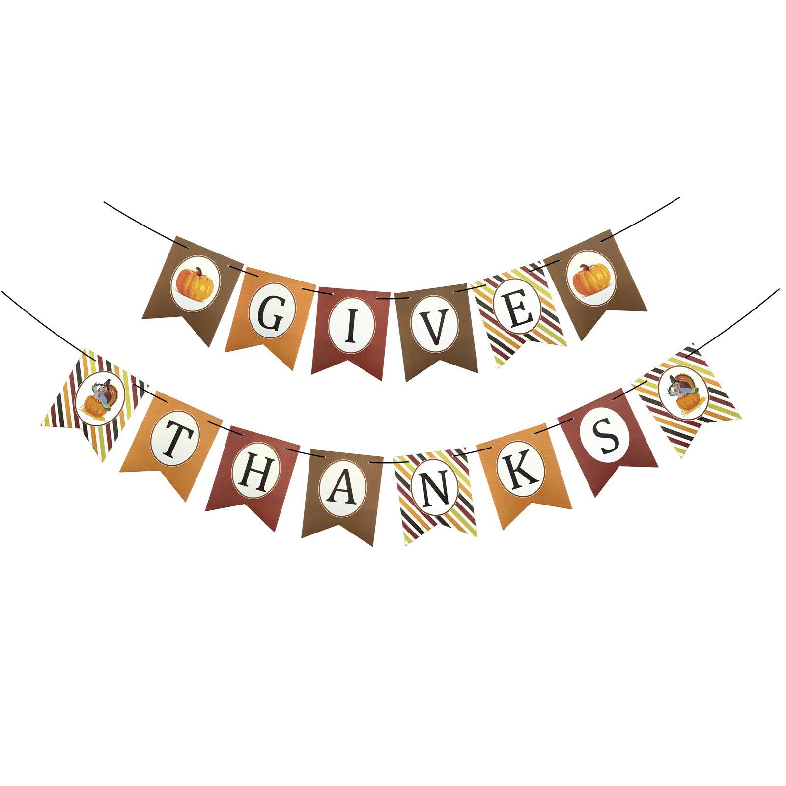 Fecedy Give Thanks Banner Garland For Thanksgiving Party Decoraion