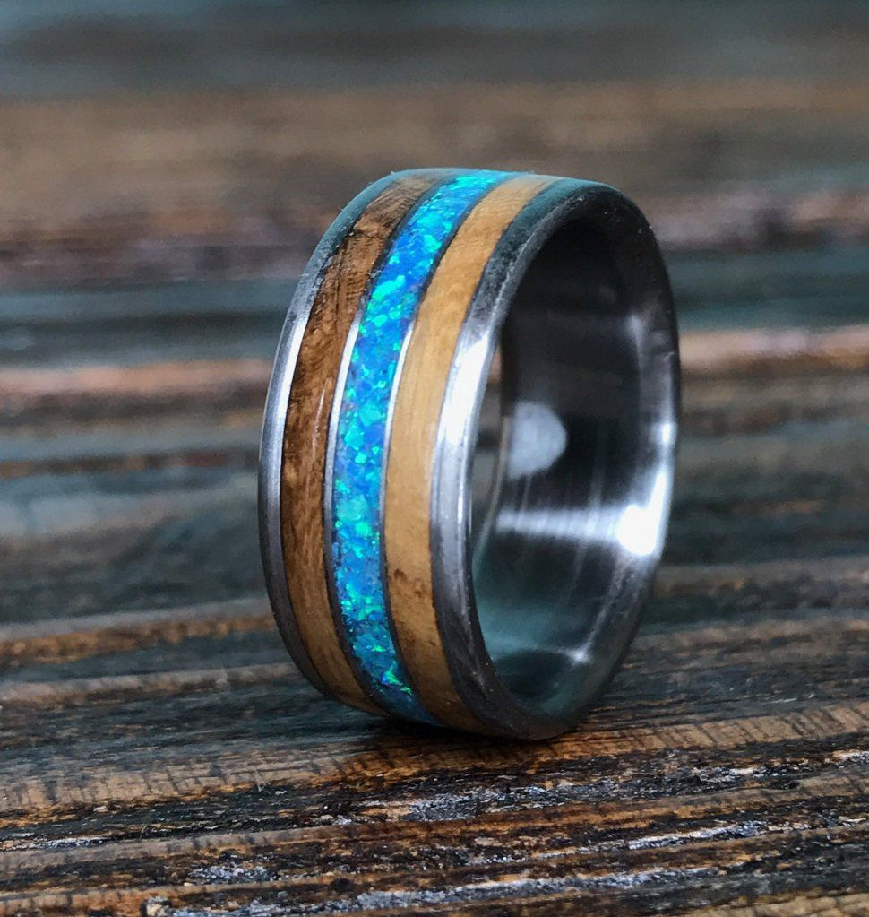 Titanium Wood Wedding Band, Mens Titanium Ring, Whiskey
