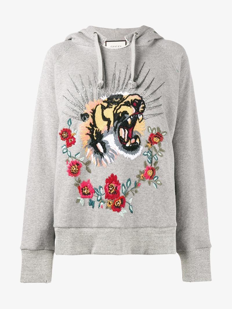 Gucci Tiger Embroidered Hooded Sweatshirt Gucci Cloth Hooded Sweatshirts Sweatshirts Sweatshirts Hoodie [ 1067 x 800 Pixel ]